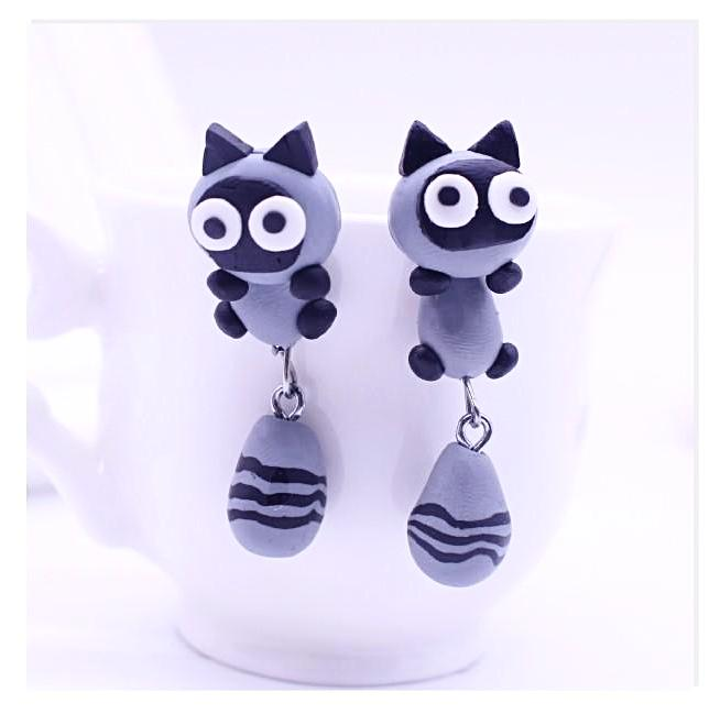 Handmade Clay Cartoon Cat Earrings