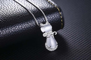 Sterling Silver and Crystal Cat with Bow Pendant Necklace