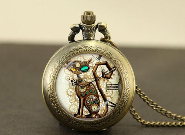 Quartz Steampunk Cat Locket Style Pocket Watch Necklace