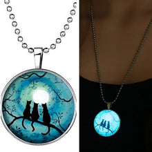 Cats Sitting Under The Moon Glow in the Dark Necklace