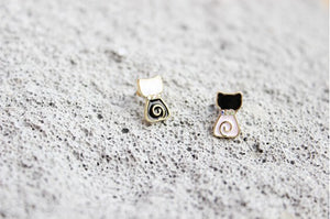 Black and White Lollipop Cat Stud Earrings