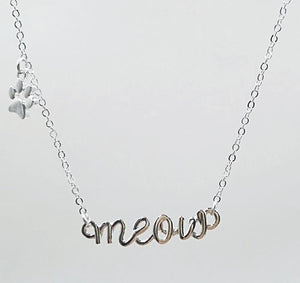 Meow Necklace with Paw Print