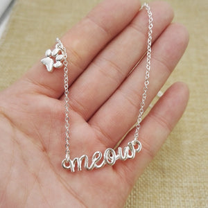 Meow Necklace with Paw Charm