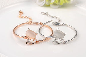 Opal and Crystal Gold Plated Cat Bracelet