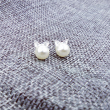 Silver and Pearl Kitty Face Stud Earrings