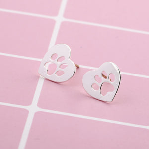 Heart Shaped Paw Print Earrings