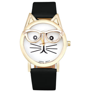 Glasses Cat Quartz Wrist Watch