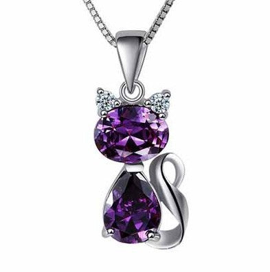 925 Silver and Austrian Crystal Cat Pendant Necklace
