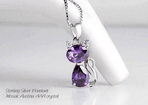 Sterling Silver Silver & Austrian Crystal Cat Necklace
