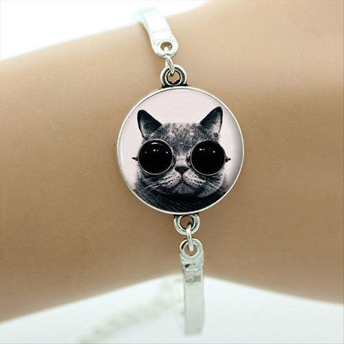Retro Cat with Sun Glasses Silver Bracelet