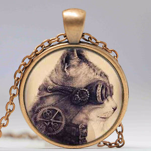 Steampunk Goggle Cat Antique Bronze Necklace