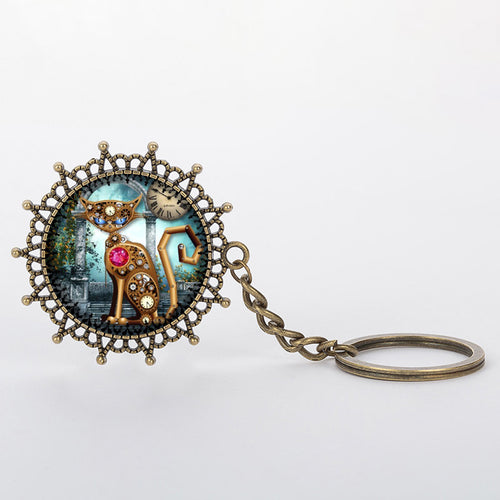 Steampunk Mechanical Cat Print Keychain