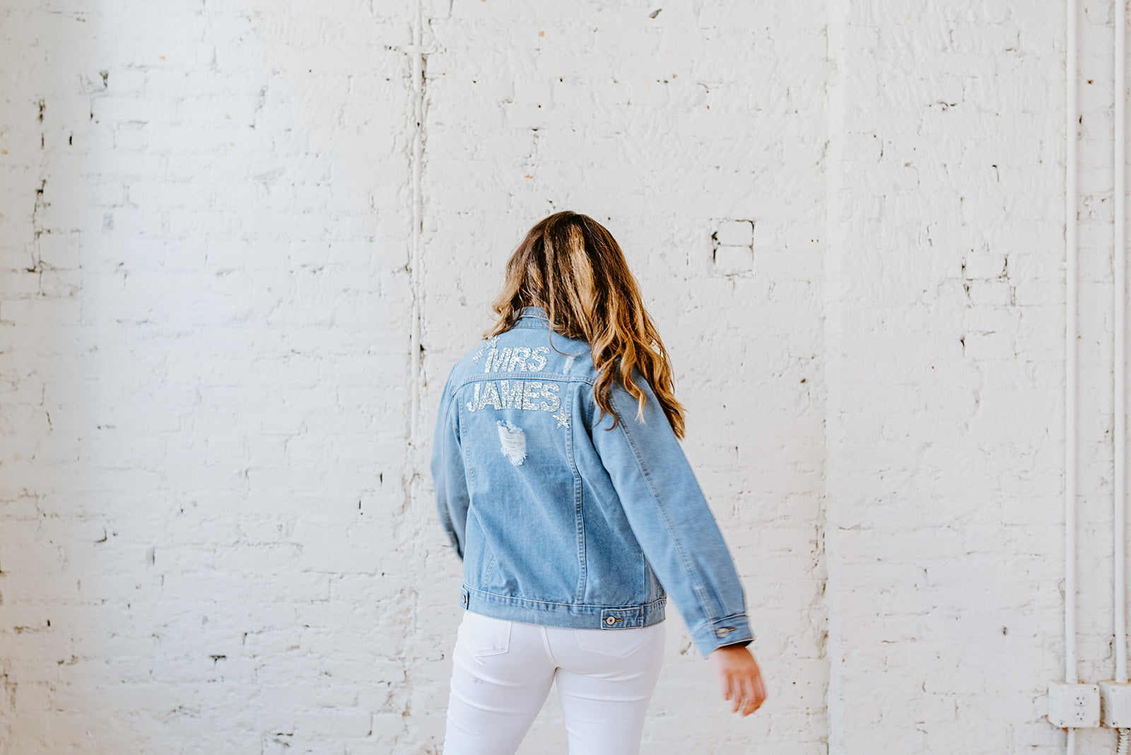 Rhinestone Denim Jacket (distressed fit)