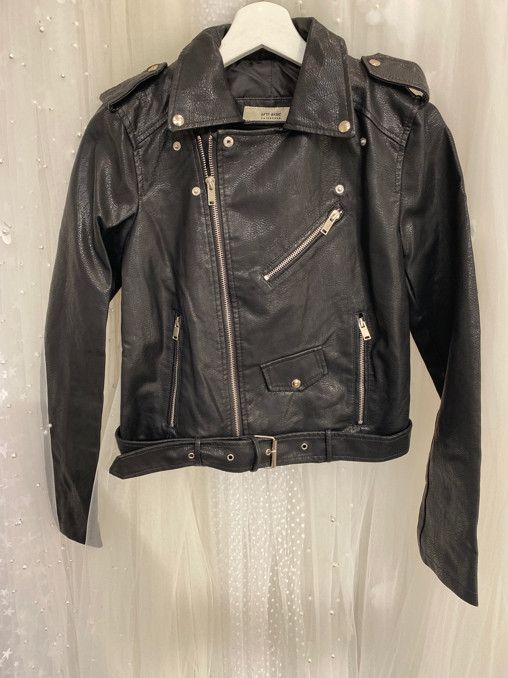 """Just Married"" faux leather jacket - Black - (SAMPLE SALE)"