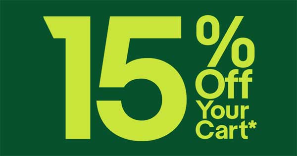 15% Off Your Cart!* Today only! Save. Discount applied. No minimum purchase.