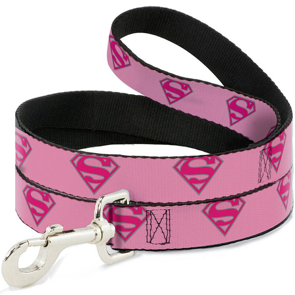 Buckle-Down Superman Shield Pink Pet Leash