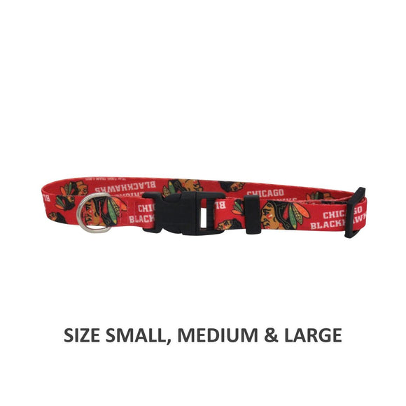 Chicago Blackhawks Pet Nylon Collar - Medium