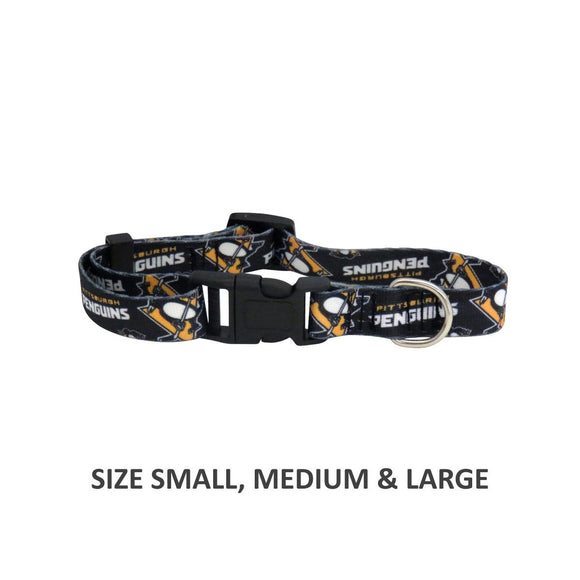 Pittsburgh Penguins Pet Nylon Collar - Medium