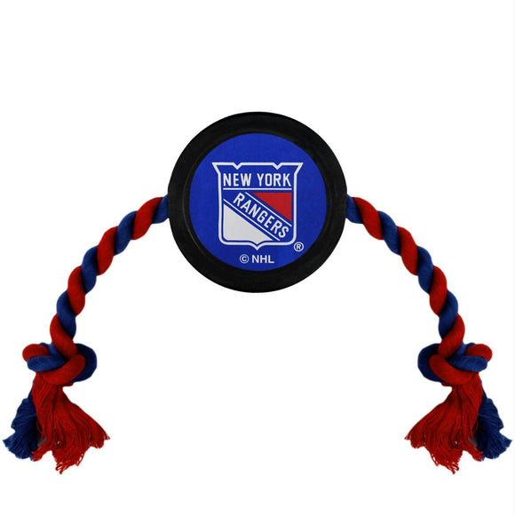 New York Rangers Pet Hockey Puck Rope Toy
