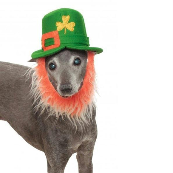 Leprechaun Pet Hat With Beard | CoolPetStuff