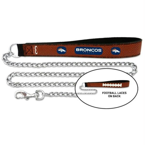 Denver Broncos Football Leather and Chain Leash