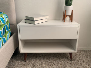Quick DIY hack to transform an IKEA storage unit into a mid-century inexpensive night stand