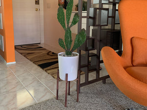 Create a mid-century modern DIY planter on a stand for an IKEA faux cactus or plant