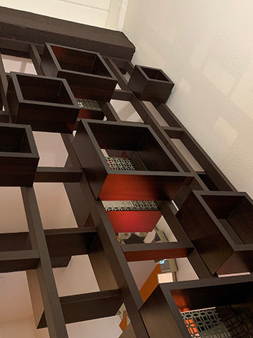 Mid century modern room divider perspective view