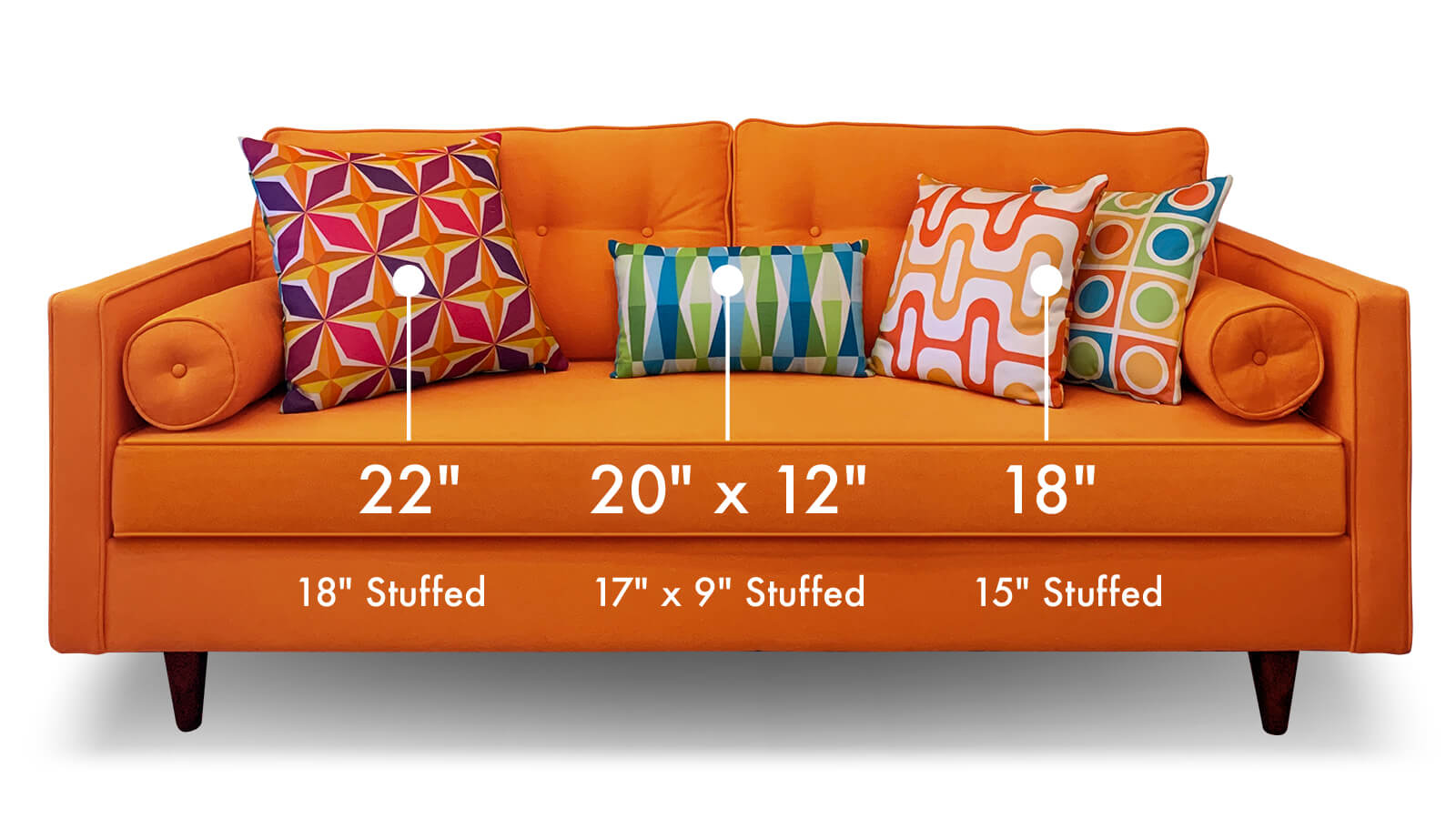 Mid-century modern throw pillows measurements selector on a couch
