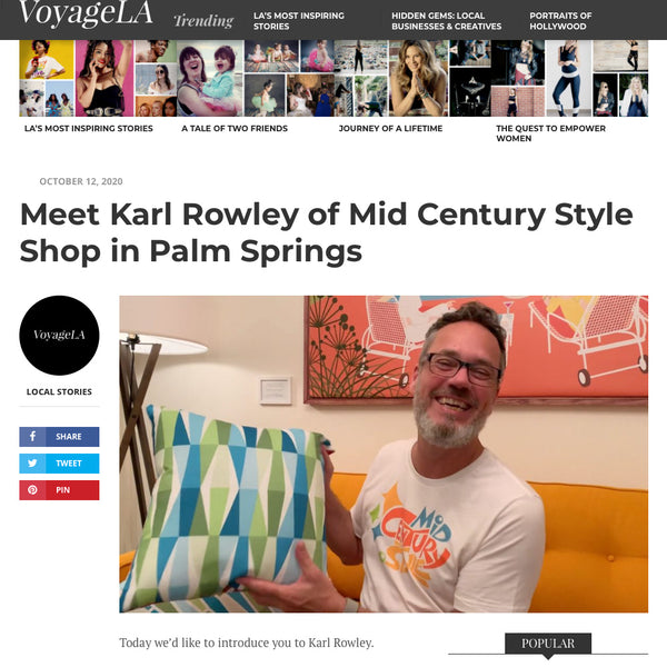 Karl Rowley and Mid Century Style Shop interview in VoyageLA online magazine