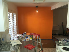 First coat of orange paint done for the mid century modern relook