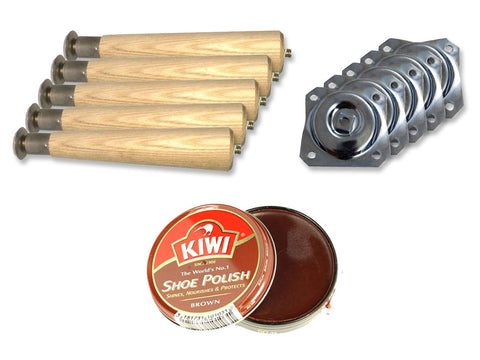 Wadell taper round wood legs, metal plates and brown KIWI shoe polish