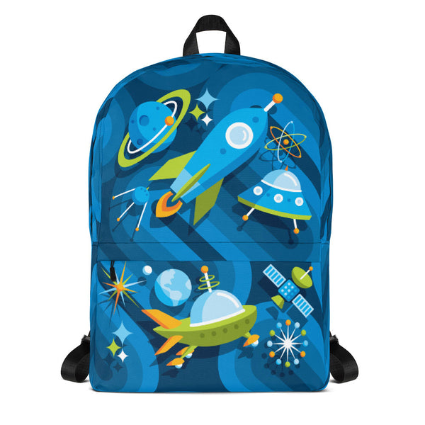Mid Century Modern Blue SpaceCadet Kids Backpack front view