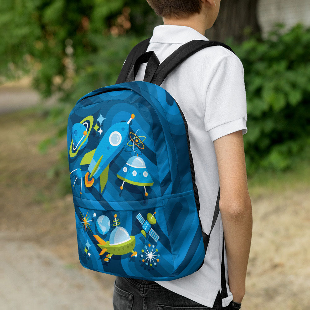 Mid Century Modern Blue SpaceCadet Kids Backpack with boy