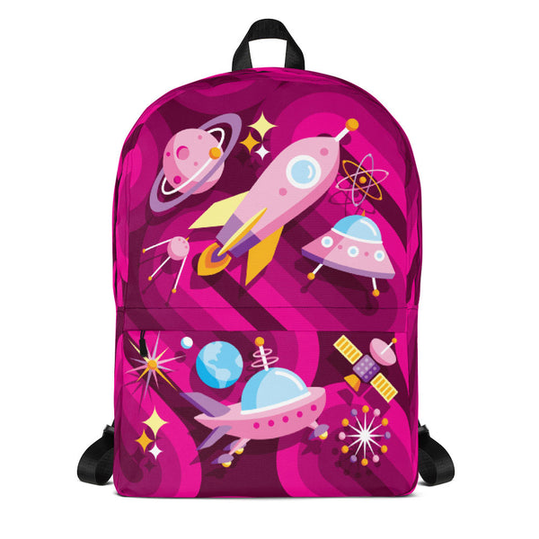 Mid Century Modern Pink SpaceCadet Kids Backpack front