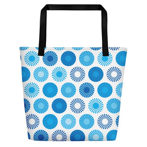 Mid Century Modern Blue FlowerPower Beach Bag