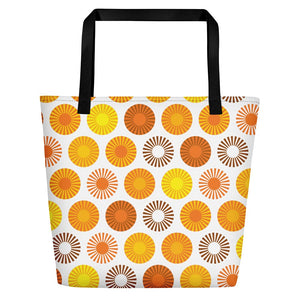 Mid Century Modern FlowerPower Orange Beach & Pool Bag