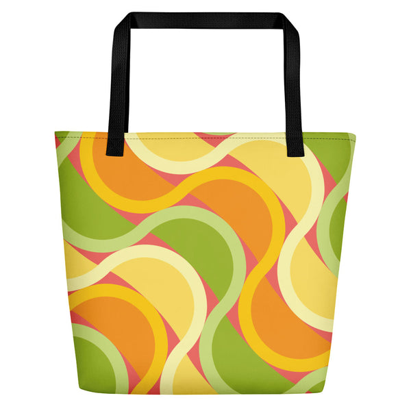 Mid Century Modern Citrus SunKissed Beach Bag front view