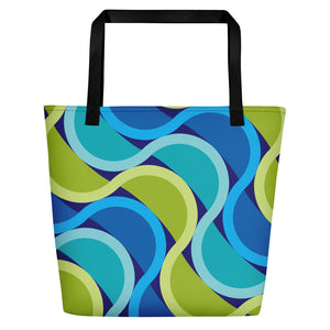 Mid Century Modern Grape SunKissed Beach Bag front view