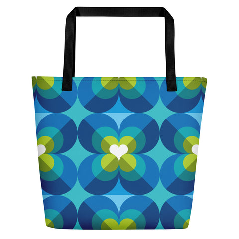 Mid Century Modern Aqua Blue LoverLeaf Beach Bag front view
