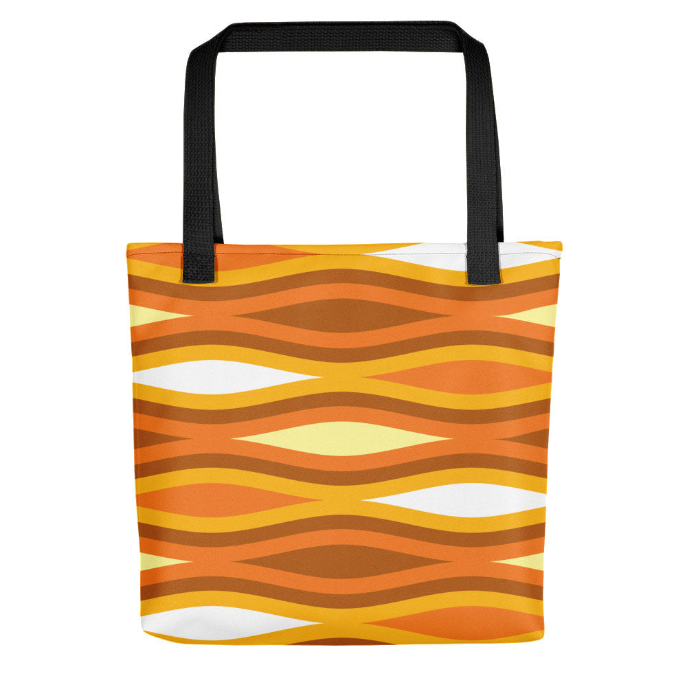 "Mid Century Modern Orange TopperWaves 15"" Tote Bag"