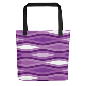 "Mid Century Modern Purple TopperWaves 15"" Tote Bag"