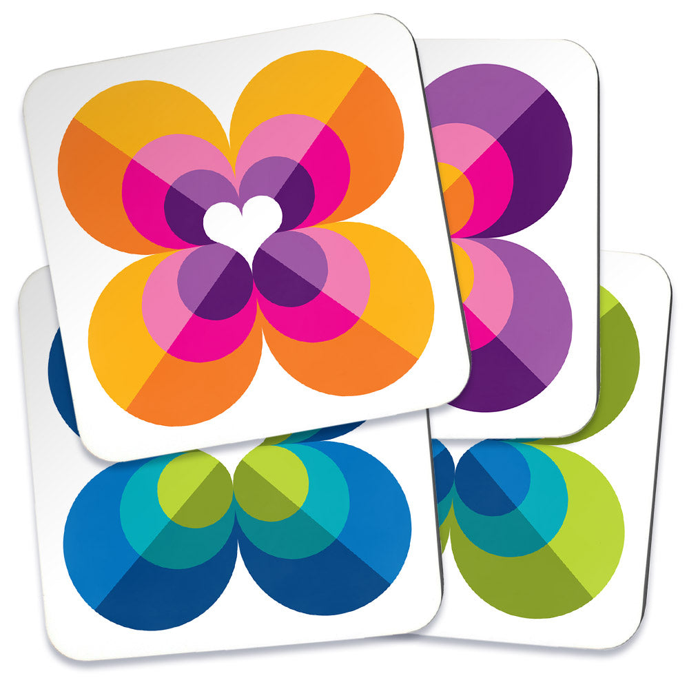 Mid Century Modern Multicolour LoverLeaf Coasters set of 4