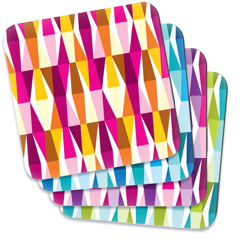 Mid Century Modern Multicolour LozAnges Square Coasters set of 4