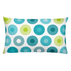 "Mid Century Modern Aqua FlowerPower 20"" x 12"" Rectangular Cushion Throw Pillow"