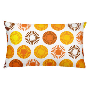 "Mid Century Modern Orange FlowerPower 20"" x 12"" Rectangular Cushion Throw Pillow"