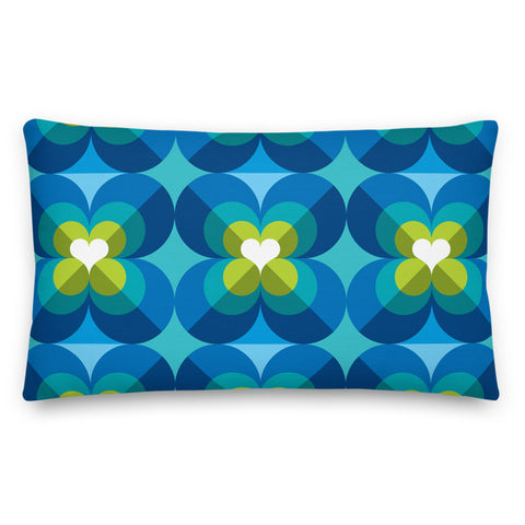 "Mid Century Modern Aqua Blue LoverLeaf 20"" x 12"" Rectangular Cushion Throw Pillow"