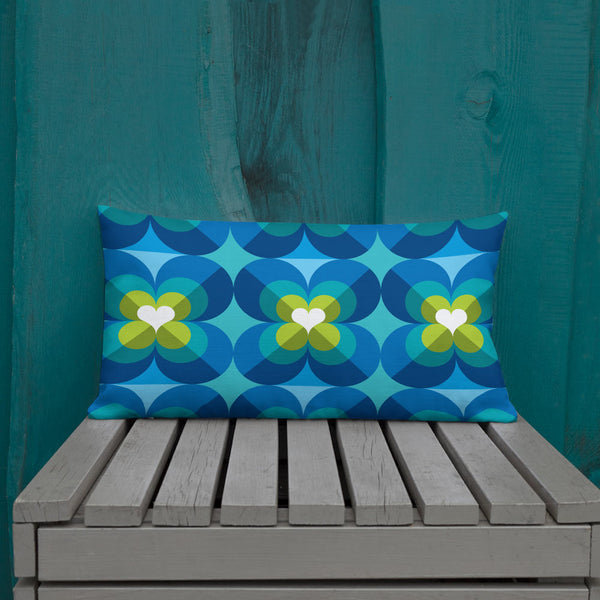 "Mid Century Modern Aqua Blue LoverLeaf 20"" x 12"" Rectangular Cushion Throw Pillow on a patio bench"