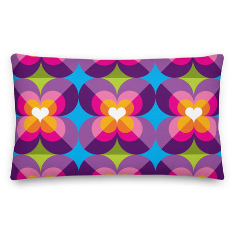 "Mid Century Modern Purple Blue LoverLeaf 20"" x 12"" Rectangular Cushion Throw Pillow"