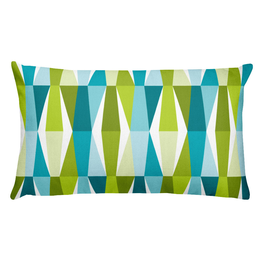 "Mid Century Modern Aqua Green LozAnges 20"" x 12"" Rectangular Cushion Throw Pillow"